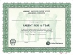 Parent for a Year Certificate- Herbert Hoover Boy's Club of Newberg
