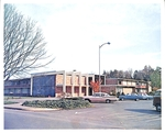 Pennington Residence Hall and Cars by George Fox University Archives