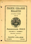 Pacific College Catalog, 1918