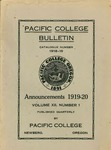 Pacific College Catalog, 1918-1920 by George Fox University Archives