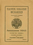 Pacific College Catalog, 1919-1921 by George Fox University Archives
