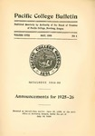 Pacific College Catalog, 1924-1926