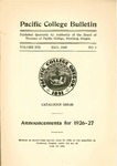 Pacific College Catalog, 1926