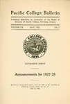 Pacific College Catalog, 1926-1928 by George Fox University Archives