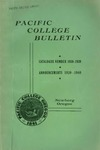 Pacific College Catalog, 1939