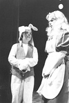 Alice stands next to person in bunny costume by George Fox University Archives