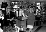 Joyce Cossel and Laura McKillip in newly remodeled bookstore by George Fox University Archives