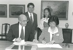President Ed Stevens with Grace Lee by George Fox University Archives