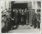 Herbert Hoover greets crowd by George Fox University Archives