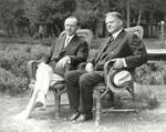 Hoover and unidentified man in Lawnchairs