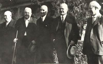 Herbert Hoover and Levi Pennington with Joe Cook, Ben Cook, and O.R. Morris