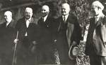 Herbert Hoover and Levi Pennington with Joe Cook, Ben Cook, and O.R. Morris by George Fox University Archives