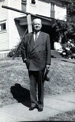 Herbert Hoover in front of the Hoover-Minthorn House