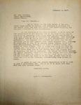 Levi Pennington Writing to State Legislator Carl Francis, February 6, 1947