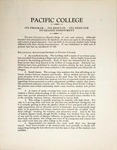 Pacific College: Its Program - Its Results - Its Need for Increased Endowment, 1926