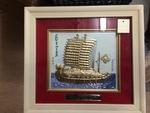 Framed Ceramic Ship Painting