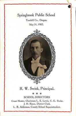 Springbrook Public School Souvenir: R. W. Swink