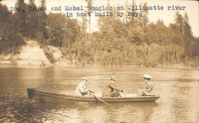 Don, Bruce and Mabel Douglas on the Willamette River