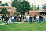 Bruin Brawl with Crowd and News Media -- October 1998 by George Fox University Archives