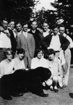 Class of 1929 with Original Bruin by George Fox University