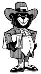 GFU Bruin Mascot, Dressed in Traditional Quaker Clothing